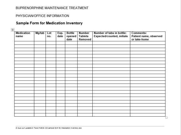 medical inventory sheet template