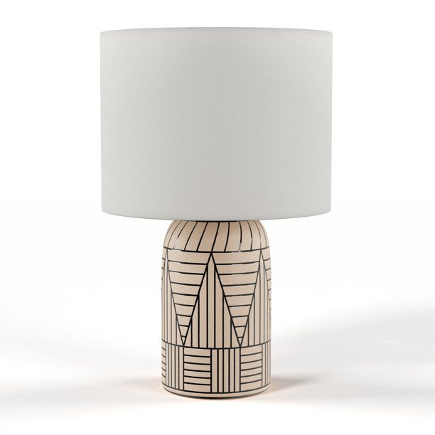 Modrn Ceramic Table Lamp With Black Accent Pattern Walmart Com Ceramic Table Lamps Ceramic Table Table Lamp