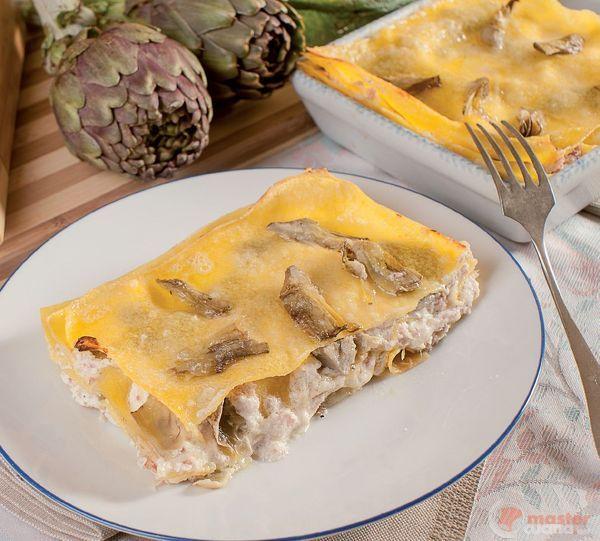 Lasagne con carciofi, formaggi e Praga