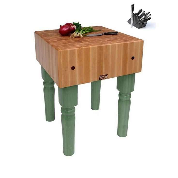 John Boos Basil PCA1-C-BS 18x18x34 Butcher Block Table With Caster & Bonus J A Henckels 13-piece Knife Set