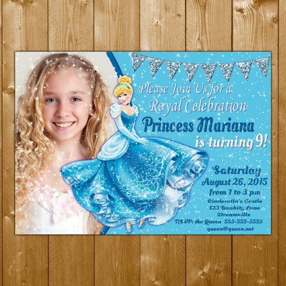 Cinderella Invitation,  Cinderella Invitations, Cinderella, Invitation, Cinderella Invitation Photo with Glitter Sparkles Cinderella Invite