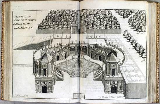 Venaria Reale. Veduta delle scale delle grotte e della fontana d'Ercole-Venaria Reale