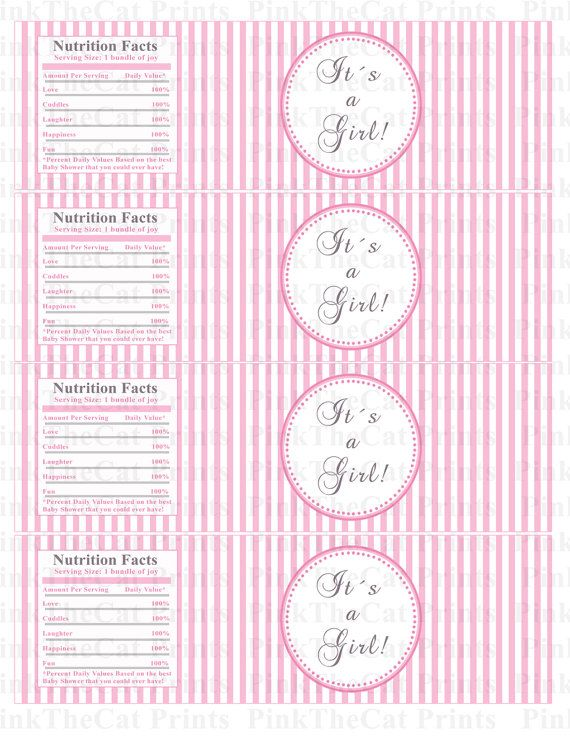 Baby Shower Bottle Labels Baby Shower Bottle Wrappers Its A Girl
