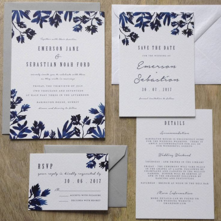Boutique wedding invitations with indigo watercolours and classic typography.The Samples - Invitation sample packs include invitation, reply and detail cards The Order Process - Once you have placed your order we will contact you via your 'order enquiry' within 1 business day to gather your unique details and requirements. We will then begin the design process and provide a PDF proof to you within 3 business days. When you have thoroughly checked and approved the design we can th...