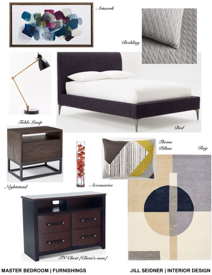 Levittown NY Online Design Project Master Bedroom Furnishings Concept Board Jill SEIDNER Interior