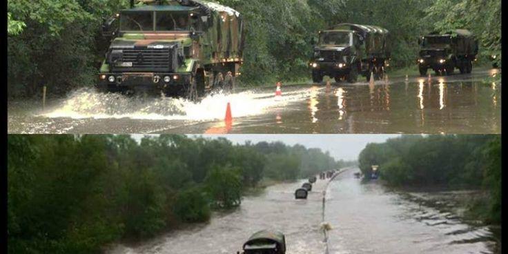 """L'armée de terre est mobilisée. Mardi 31 mai 2016, elle a aidé à évacuer les """"naufragés"""" de l'autoroute A10 dans le Loiret"""