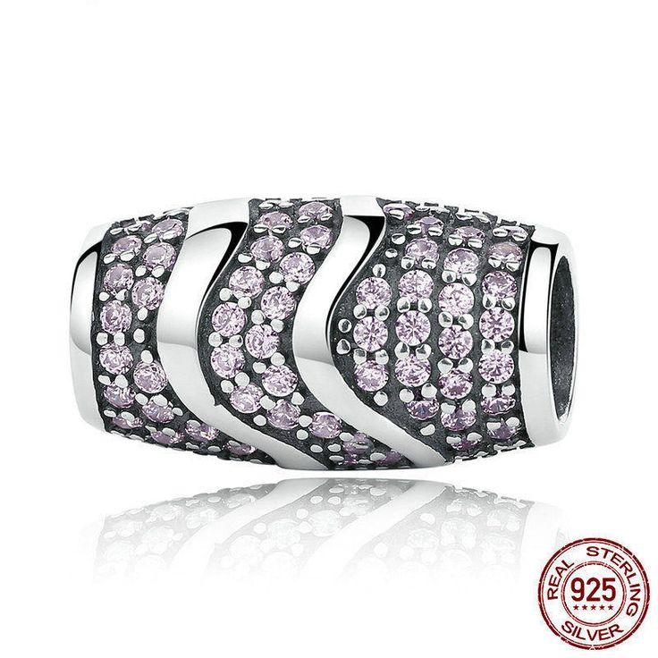 Charm Elegante con zirconi rosa e onde argento bead 100% argento 925 adatta misure Pandora charm Pandora bead e Braccialetto europeo CC124 di OceanBijoux su Etsy