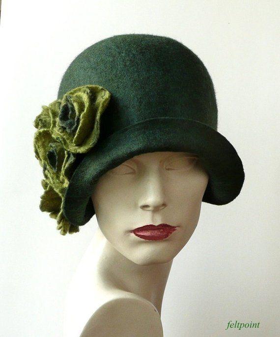 Green felt hat felted hat Green hat felt hats Cloche Hat | Etsy