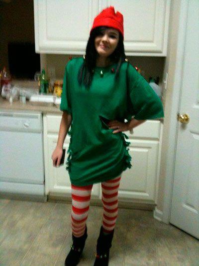 disfraz diy elfo para mujer fácil  #navidad #christmas #costumes #disguises #disfraces #diy #manualidades #ideas #original #upcycle #crafts #easy #adult #kids #cheap #barato #women #stripes #elf