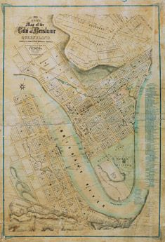 Poster Ham's Map of Brisbane 1863 covers the areas of Spring Hill, West End, Kangaroo Point, and the Central Business District.