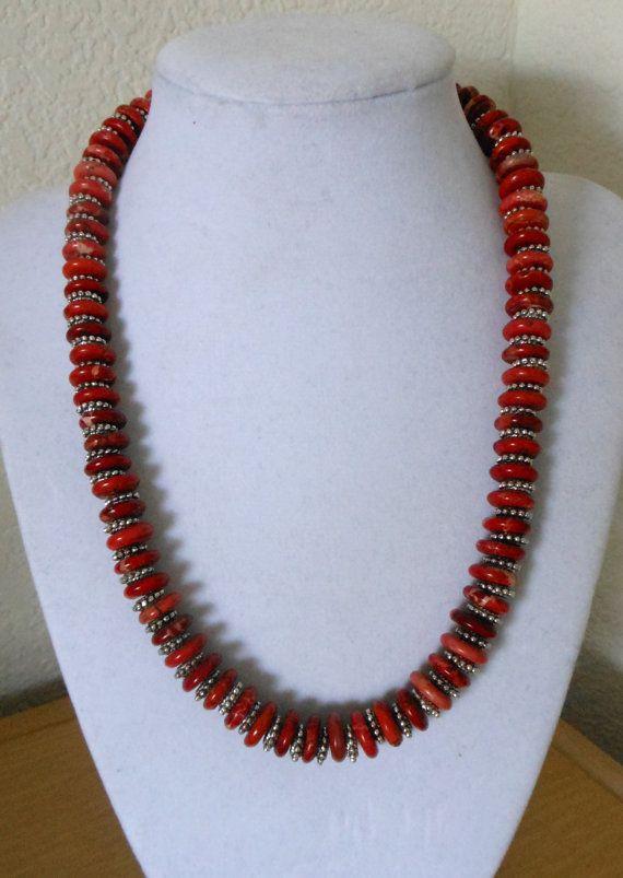 Red Howlite necklace/Genuine howlite flat by CreationsbyMaryEllen