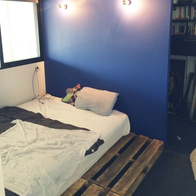 taruさんの、ベッド周り,リノベーション,中古住宅,無印良品 ,パレットベッド,のお部屋写真