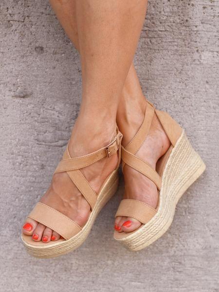 Beige sandals with wedge heel