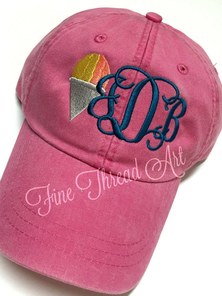 LADIES Snow Cone Monogram Baseball Cap Hat LEATHER strap Mom Bridesmaid Bride Bachelorette Pigment Dyed Snocone Snowball Shaved Ice Summer by finethreadart on Etsy