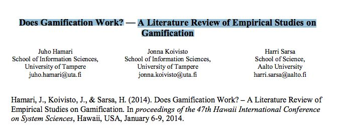 Does Gamification Work  A Literature Review Of Empirical Studies
