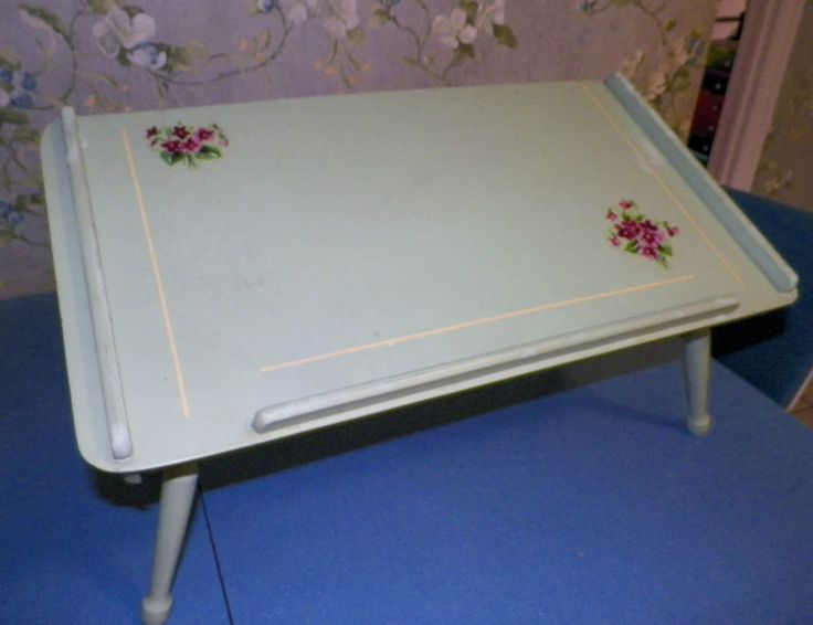 Vintage Bed Tray Violets, Wood, Adjustable Angles Folding Legs Midcentury