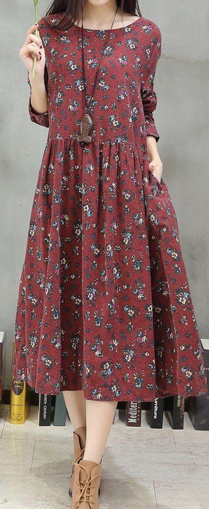Frauen locker sitzend über plus size Retro-Blumentasche Kleid Tunika Loong Ärmel – Frauenmode