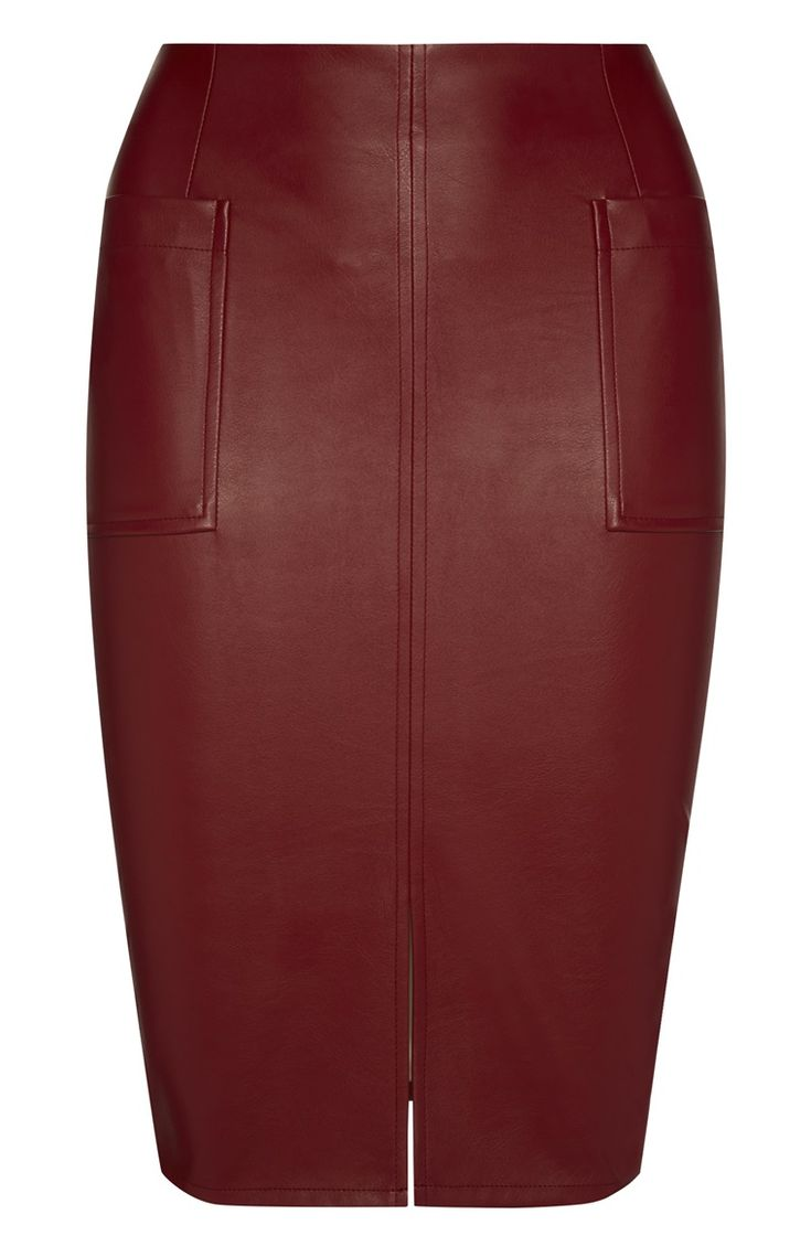Primark - Red PU Patch Pocket Pencil Skirt