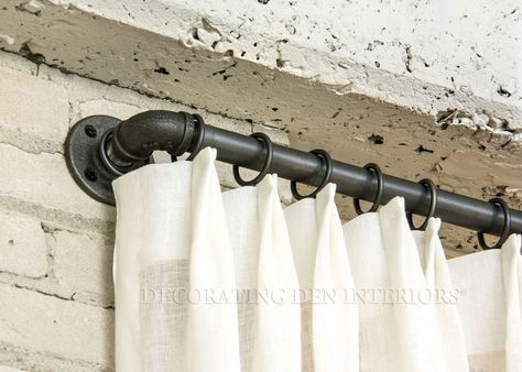 Custom Window Treatments   Designer Curtains, Shades and Blinds - I LOVE THE INDUSTRIAL ROD.