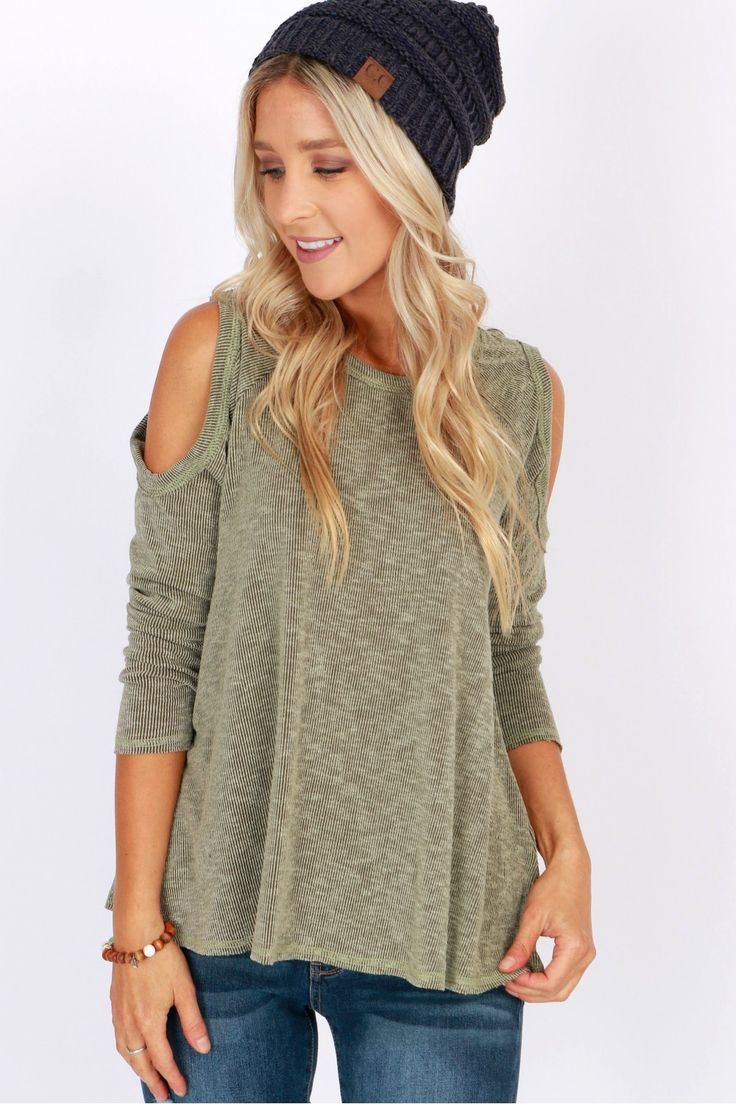 Dare to Bare Cold Shoulder Top Olive