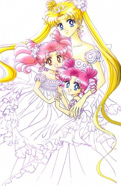 Neo-Queen Serenity, Rini, and Chibi Chibi-Original Sailor Moon Art Work By Naoko Takeuchi I cannot get tired of Sailor Moon