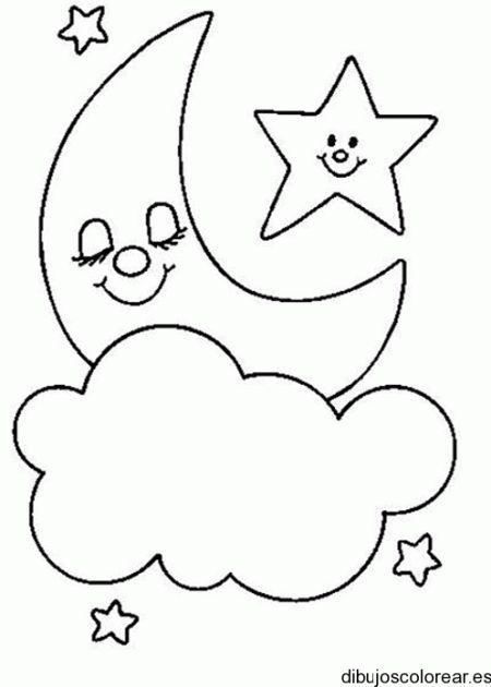 Dibujo de la luna y las nubes   Dibujos para Colorear   quilt blocks ...