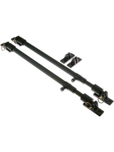 "Adjustable Bahama Shutter Stay Set. Bahama Shutter Hardware. by Lynn Cove Foundry & Forge. $99.95. This pair of lightweight and sturdy stays is adjustable from 22"" to 34"" length. This set can be used for small to large Bahama or Bermuda shutters and is made out of aluminum to avoid rust. This set comes with brass pins for attaching the rod to the brackets when the shutter is held open. When the shutter is to be closed during a storm the rods can be removed and the brackets ..."