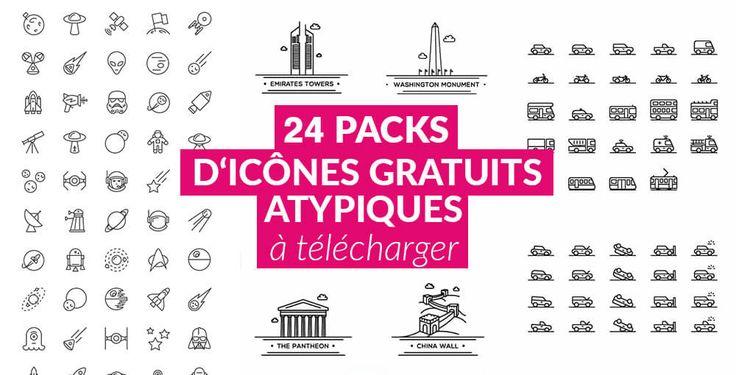 24 packs d'icônes gratuits sur des thèmes variés : monuments, espace, nourriture, appareils photo, transports, Saint-Valentin, divertissement et d'autres