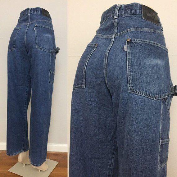 90s Levi S Silvertab Baggy Carpenter Jeans Size 31 Vintage High Waisted Denim Loose Fit Dark W Dark Washed Jeans Outfit Pink Jeans Dark Wash Jeans