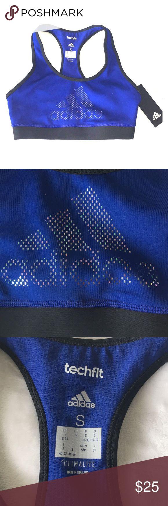 adidas Sport-BH Größe S Adidas Techfit Sport-BH Dunkelblau und Schwarz mit …
