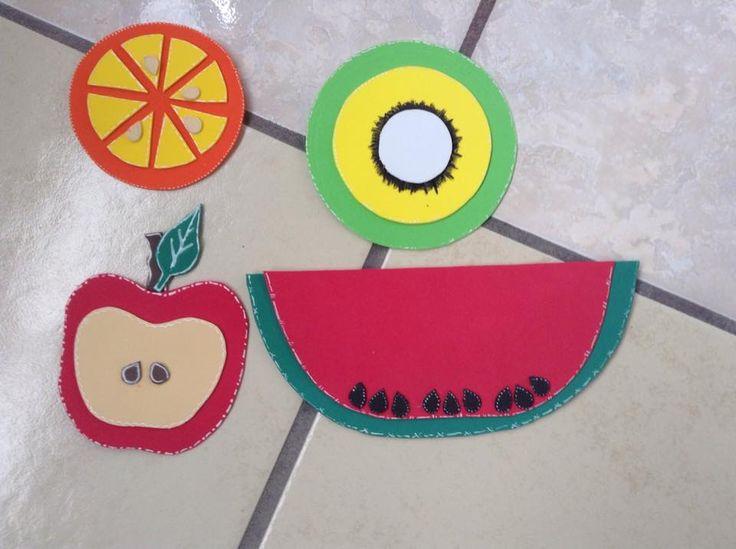 Frutas de foami Naranja Kiwi Manzana Sandía