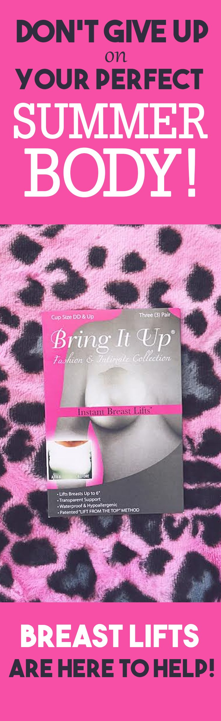 Your perfect summer body is just a click away! Look FIERCE this coming season with breast lifts from Bring it Up! Show off your curves at the beach, by the pool, or in some fun backless tops. These breast lifts are backless, easy to use and give the lift you need this summer!  #bringitup #breastlifts #breastshapers #stickybra #stickonbra #pushupbra #model #curves #curvy #girlsgirlsgirls #womensunderwear #bra #bras #leopard #pink