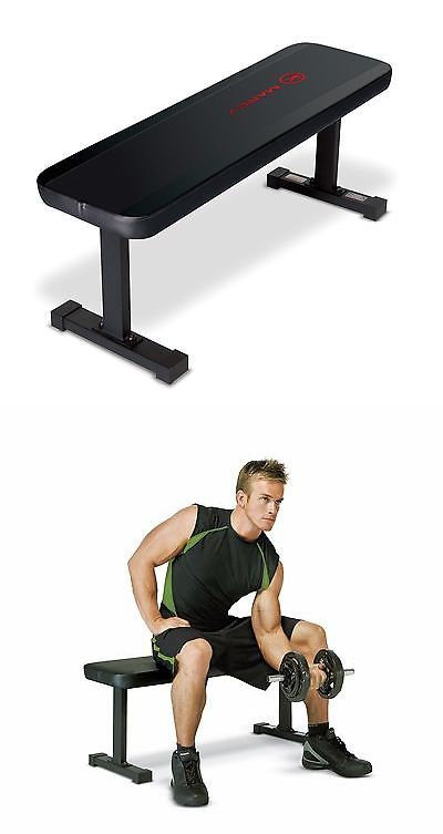 Benches 15281: Marcy Flat Utility Weight Bench Gym Exercise Fitness Workout Home Training Black BUY IT NOW ONLY: $47.55