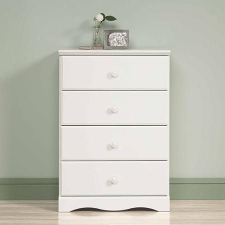 For the kid's rooms - Sauder Storybook 4-Drawer Chest, Soft White