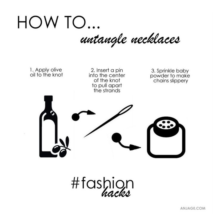 Untangle necklaces.  #untangle #necklace #fashionhacks #stylehacks