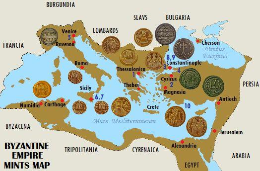 Mints of Eastern Roman Empire, i.e. Map of Byzantine Mints.