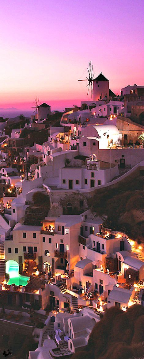 Santorini ~ famous for its stunning views and beautiful sunsets, is one of the most romantic places in the Greek islands.