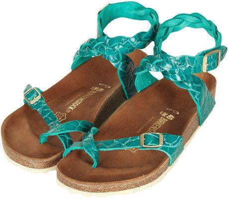 Topshop Birkenstock Yara Sandals in Green (gunmetal)   Lyst