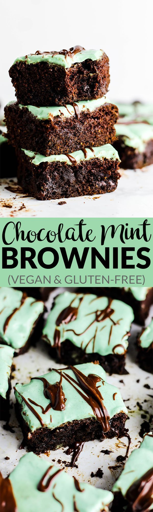 Your favorite healthy brownie recipe just got better! These Chocolate Mint Brownies are dense, chocolate-y & full of fresh mint flavor. Vegan & gluten-free!