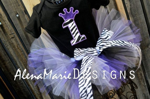 Custom 1st Birthday Crown Zebra Tutu Outfit - Purple, Black & White With Crown Number 1 and Zebra Hair Bow For Baby Girl First Birthday $49.99