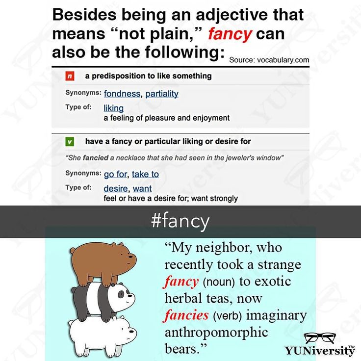 "Fancy can be an adjective verb or noun. As an adjective ""fancy"" means 'not plain' as in ""What a fancy pen you have!""  As a verb ""fancy"" means 'to like' or 'to imagine' e.g. ""I fancy a cold beer right now.""  Lastly as a noun ""fancy"" means 'a liking' or 'craving' e.g. ""Nan's niece goes crazy about every passing fancy."" #vocabulary #fancy #grammar #usage #esl #efl #learnenglish #webarebears"