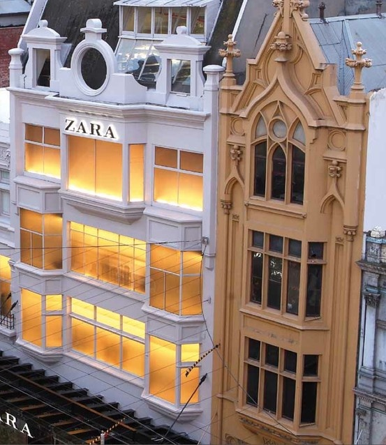 In 2011, Zara unveiled its renovation of an elegant Neo-Gothic building on Melbourne's Bourke Street, which was constructed in the turn of the 20th century and is most well-known as the former location of Darrods Department Store, which occupied the space since 1934. The Zara architecture team faced quite a task restoring the aging, delicate elements adorning the two different façade styles, but it all came together in the end.