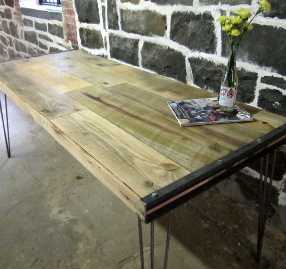 Reclaimed Wood And Recycled Steel Tables By