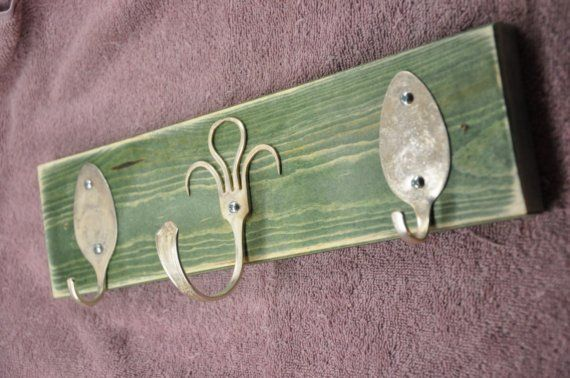 Funky fork and spoons hooks green stained rack by jjevensen on Etsy.