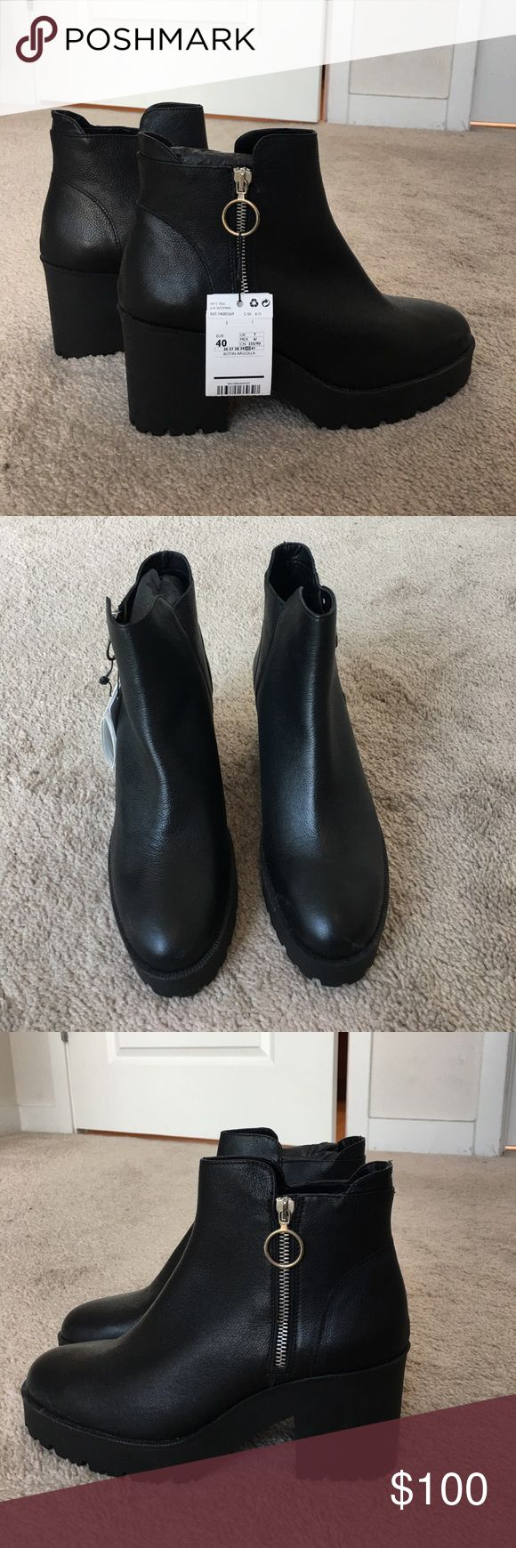 Mango Platform Ankle Boot Sold out! These are brand new with an 8 cm heel. Side zipper and track sole. I have another pair of these that are lasting me forever, so I don't need these! Fit closer to 9.5 than 10. Mango Shoes Ankle Boots & Booties