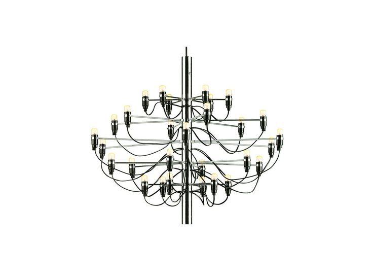 ... Lampadario 2097/30 a 30 luci in acciaio con lampadine e filo a vista