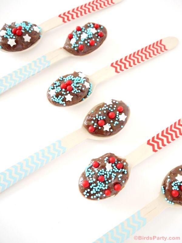 Easy Brigadeiro Chocolate Fudge Spoons Recipe by Bird's Party #chocolate #recipes #brigadeiro #4thofjuly #treat #kids