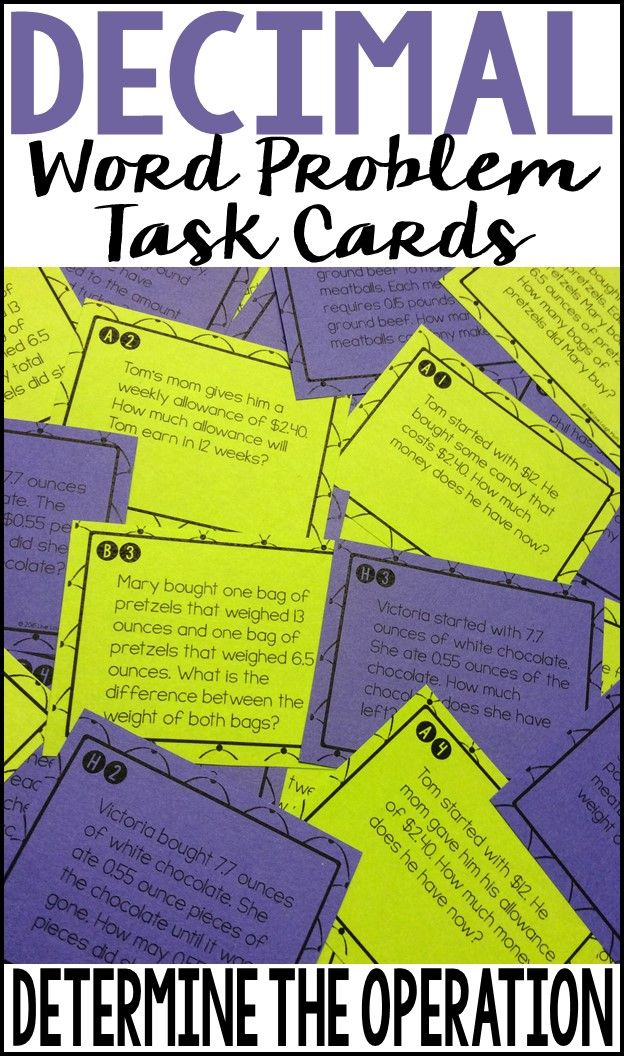Decimal Operation Word Problems Task Cards: Determine the Operation- 32 task cards perfect for students to practice determining operations for word problems while also practicing adding, subtracting, multiplying, and dividing decimals