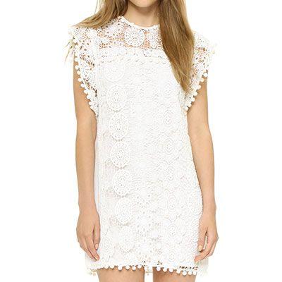 Tularosa Elba Dress - white lace dress, white lace pom pom dress, white pom pom dress, white lace panel dress, white lace insert dress, white lace mini dress, white pom pom mini dress, white lace shift dress