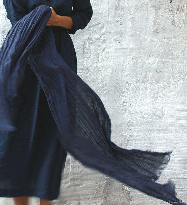 Купить Льняной большой шарф в интернет магазине на Ярмарке Мастеров